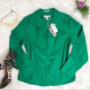 Chico's Effortless Cotton Zina LS Green Top SZ 2 L